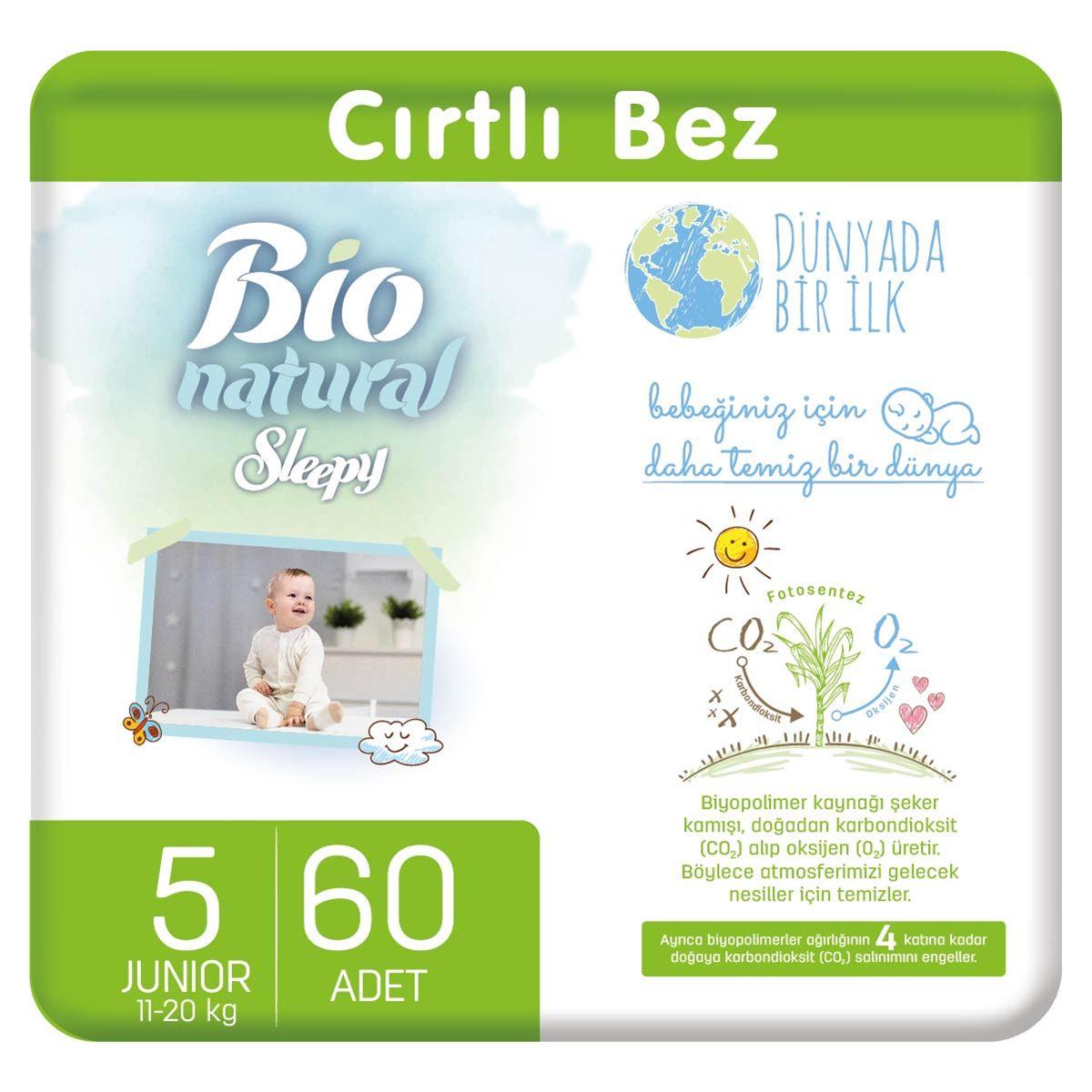 Bio Natural Bebek Bezi 5 Numara Junior 60 Adet