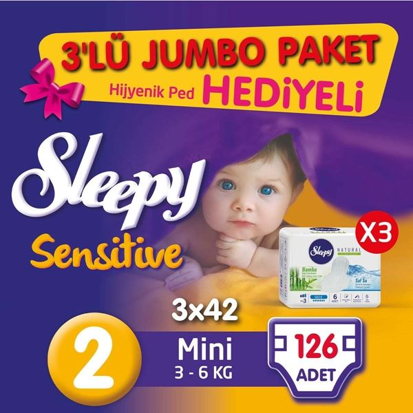 3'lü Jumbo Sleepy Sensitive Pepee Mini 2 Numara Bebek Bezi