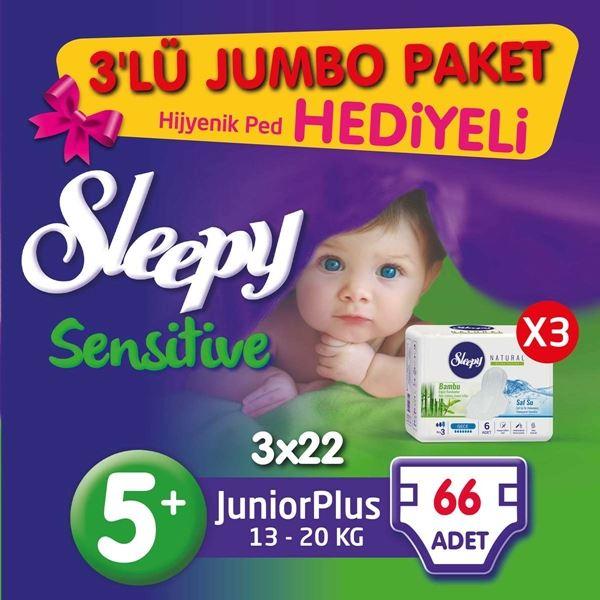 3'lü Jumbo Sleepy Sensitive Pepee Junior Plus 5+ Numara Bebek Bezi