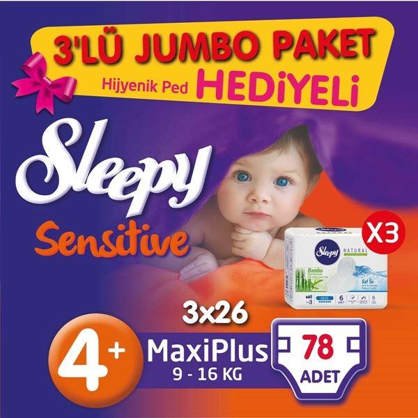 3'lü Jumbo Sleepy Sensitive Pepee Maxi Plus 4+ Numara Bebek Bezi