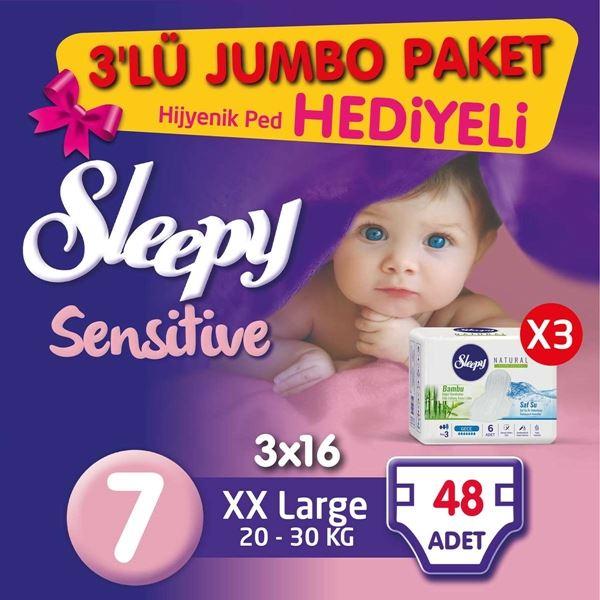 3'lü Jumbo Sleepy Sensitive Pepee XX Large 7 Numara Bebek Bezi