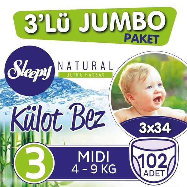 3'lü Jumbo Sleepy Natural Külot Bez 3 Numara Midi