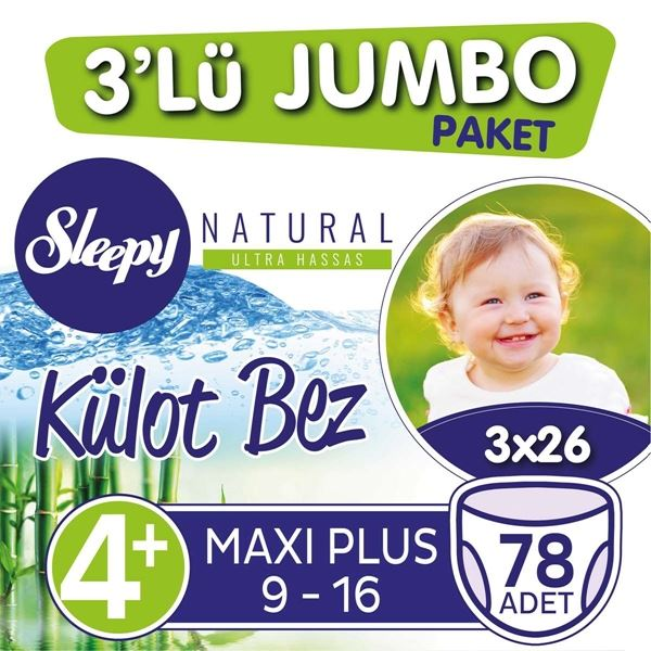 3'lü Jumbo Sleepy Natural Külot Bez 4+ Numara Maxi Plus