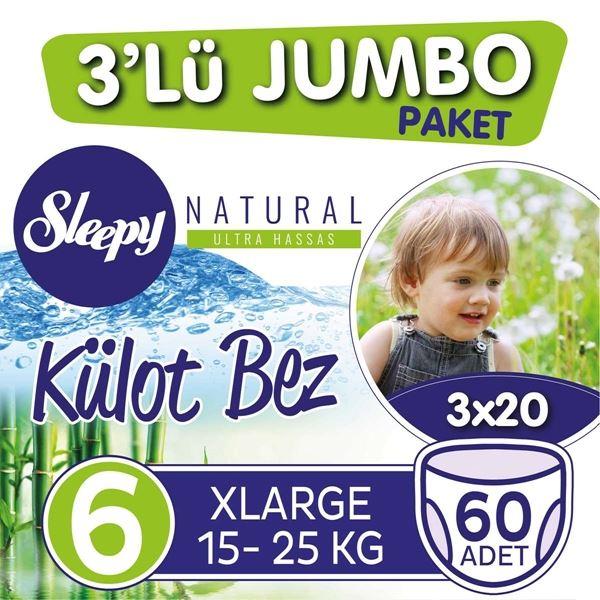3'lü Jumbo Sleepy Natural Külot Bez 6 Numara Xlarge