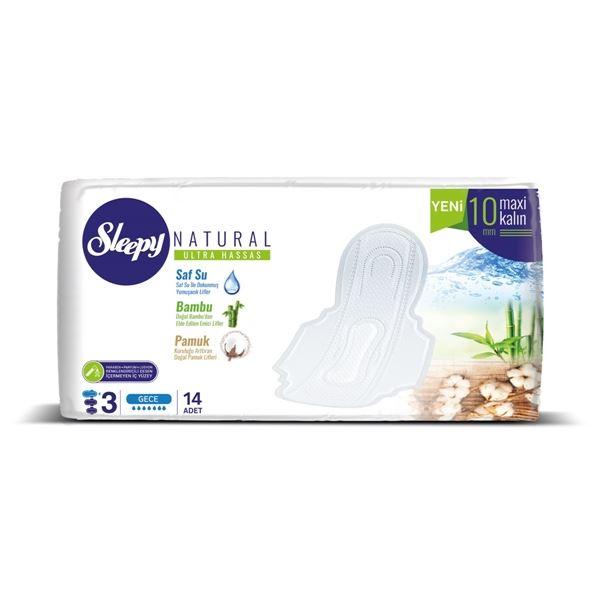Sleepy Natural Ultra Hassas Maxi Kalın GECE (14 Ped) SÜPER EKO