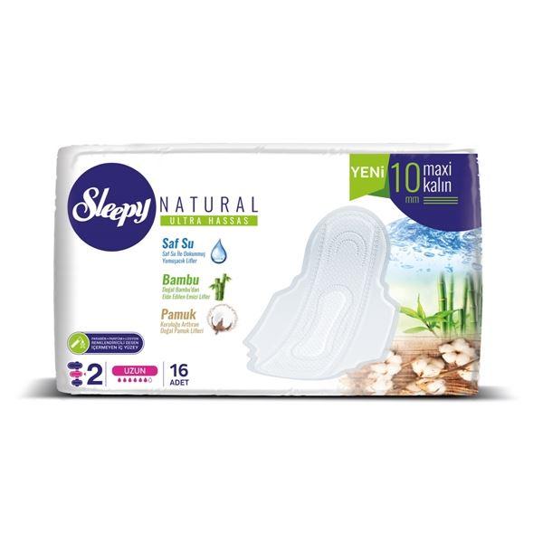 Sleepy Natural Ultra Hassas Maxi Kalın UZUN (16 Ped) SÜPER EKO