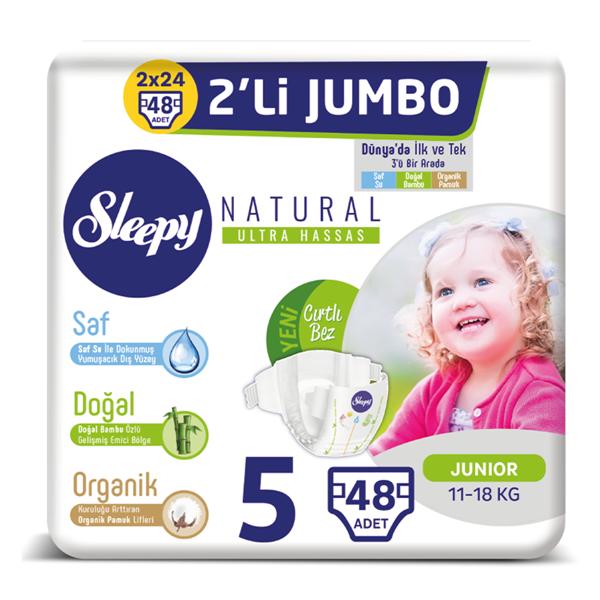 Sleepy Natural Bebek Bezi 5 Numara Junior 2'Lİ JUMBO 48 Adet