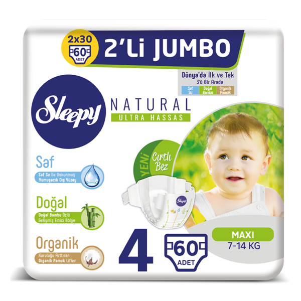 Sleepy Natural Bebek Bezi 4 Numara Maxi 2'Lİ JUMBO 60 Adet