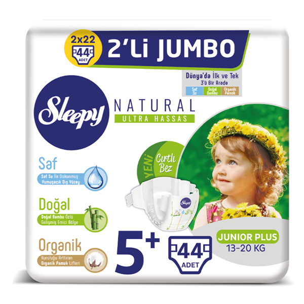 Sleepy Natural Bebek Bezi 5+ Numara Junior Plus 2'Lİ JUMBO 44 Adet