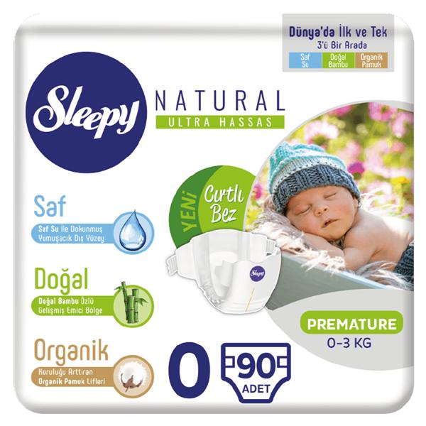 Sleepy Natural Bebek Bezi 0 Numara Prematüre 90 Adet