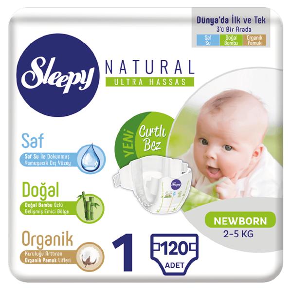 Sleepy Natural Bebek Bezi 1 Numara Yenidoğan 120 Adet