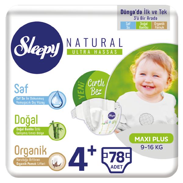 Sleepy Natural Bebek Bezi 4+ Numara Maxi Plus 78 Adet