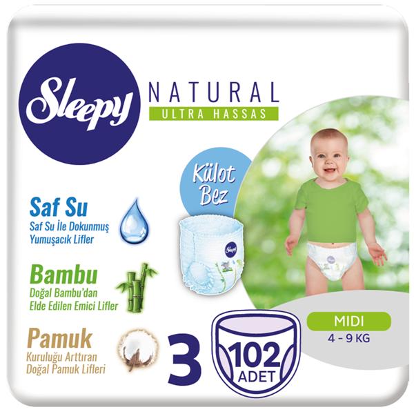 Resim Sleepy Natural KÜLOT Bez 3 Numara Midi 102 Adet