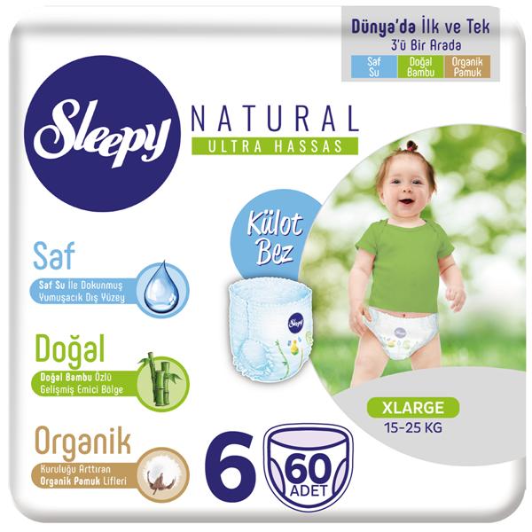 Sleepy Natural KÜLOT Bez 6 Numara Xlarge 60 Adet