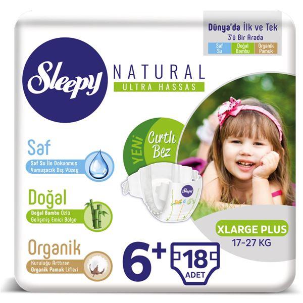 Sleepy Natural Bebek Bezi 6+ Numara Xlarge Plus 18 Adet