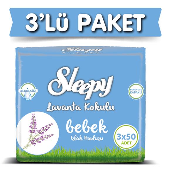 3'lü Sleepy Lavanta Kokulu Islak Havlu 3x50