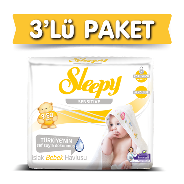 3'lü Sleepy Sensitive Islak Havlu 3x50