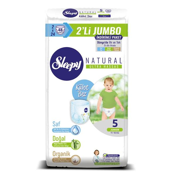 Sleepy Natural KÜLOT Bez 5 Numara Junior 2'Lİ JUMBO 48 Adet