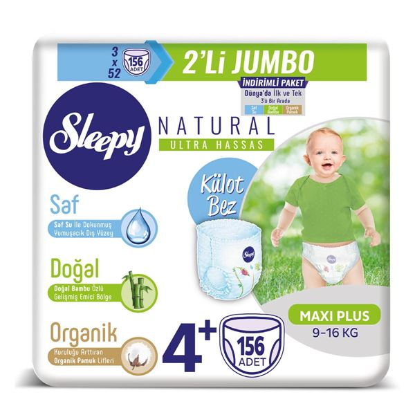 Sleepy Natural Külot Bez 4+ Numara Maxi Plus 3X2'Lİ JUMBO