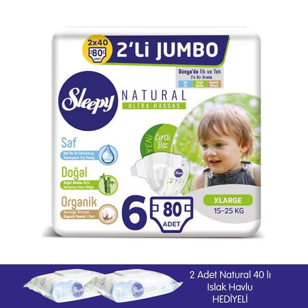 zSleepy Natural Bebek Bezi 6 Numara Xlarge 2X2'Lİ JUMBO+2 Adet Islak Havlu Hediyeli