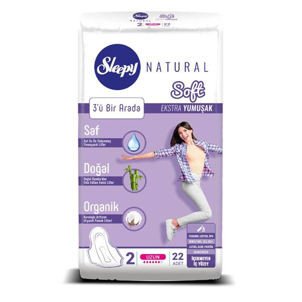 Resim Sleepy Natural Soft Ekstra Yumuşak Uzun (22 Ped)