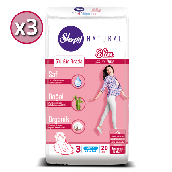 Sleepy Natural Slim Ekstra İnce Gece (3X20 Ped)