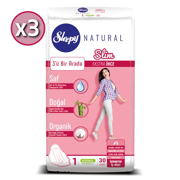 Sleepy Natural Slim Ekstra İnce Normal (3X30 Ped)