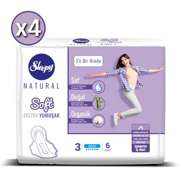 Sleepy Natural Soft Ekstra Yumuşak Gece (4X6 Ped)