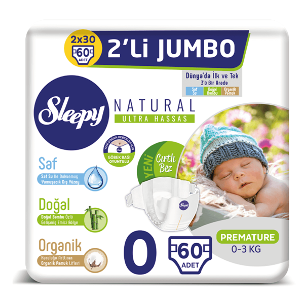 Resim Sleepy Natural Bebek Bezi 0 Numara Prematüre 2'Lİ JUMBO 60 Adet