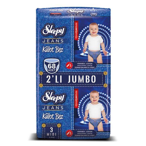 Resim Sleepy Jeans KÜLOT Bez 3 Numara Midi 2'Lİ JUMBO 68 Adet