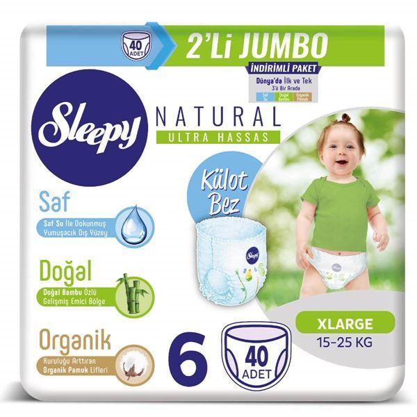 Sleepy Natural KÜLOT Bez 6 Numara Xlarge  2'Lİ JUMBO 40 Adet