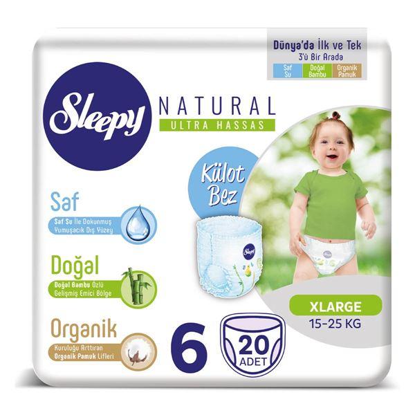 Resim Sleepy Natural KÜLOT Bez 6 Numara Xlarge 20 adet