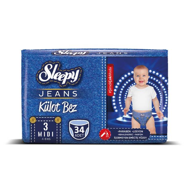 Resim Sleepy Jeans KÜLOT Bez 3 Numara Midi 34 Adet