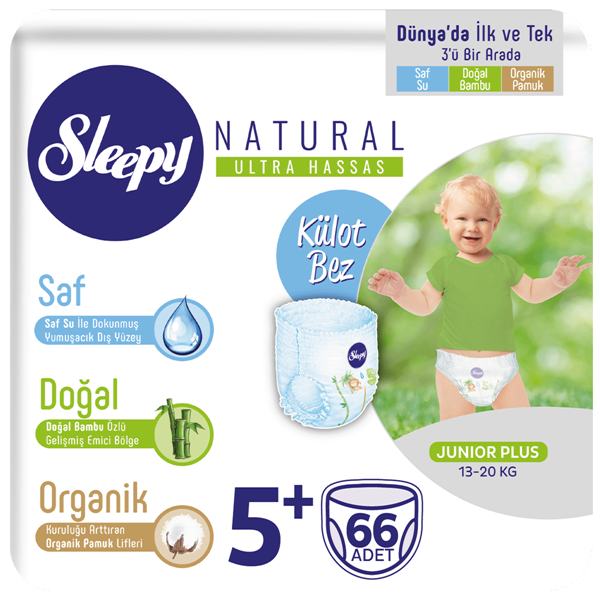 Resim Sleepy Natural KÜLOT Bez 5+ Numara Junior Plus 66 Adet
