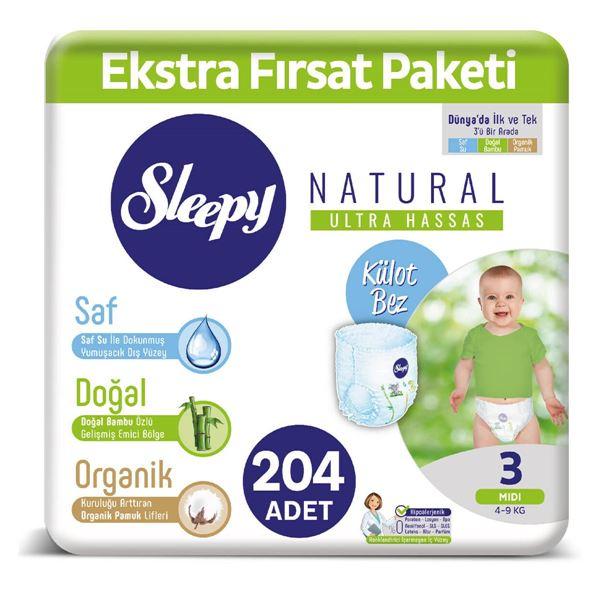 Resim Sleepy Natural KÜLOT Bez 3 Numara Midi Ekstra Fırsat Paketi 204 Adet