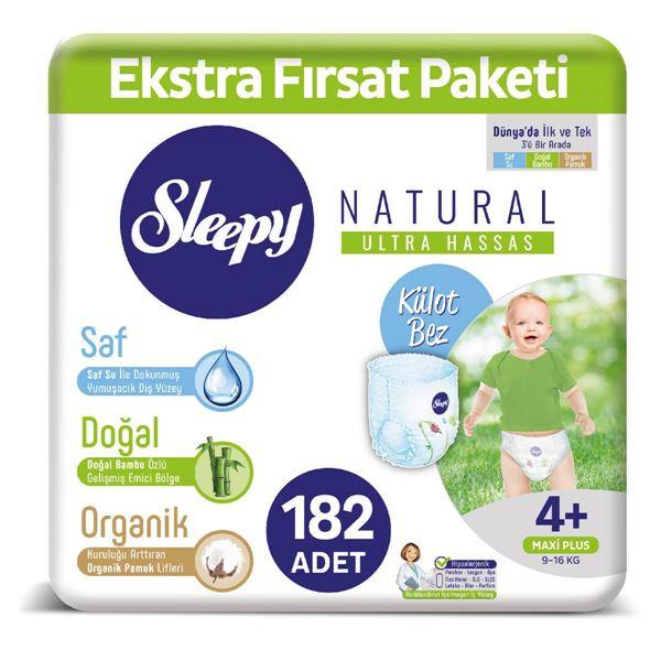Resim Sleepy Natural KÜLOT Bez 4+ Numara Maxi Plus Ekstra Fırsat Paketi 182 Adet