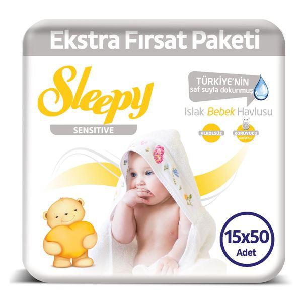 Sleepy Sensitive Islak Havlu 15X50 li