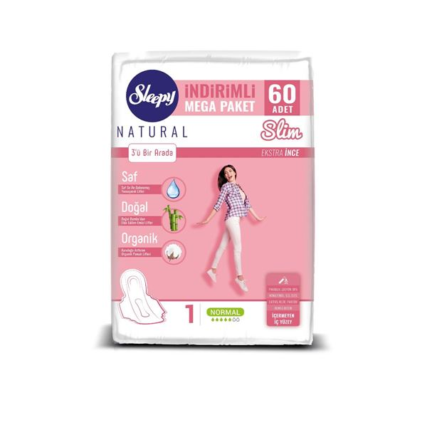 Sleepy Natural Slim Ekstra İnce Normal (60 Ped) MEGA PAKET