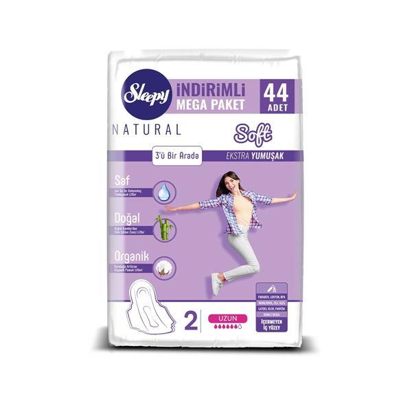 Sleepy Natural Soft Ekstra Yumuşak Uzun (44 Ped) MEGA PAKET