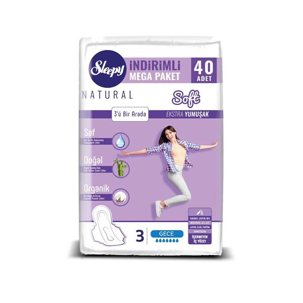 Resim Sleepy Natural Soft Ekstra Yumuşak Gece (40 Ped) MEGA PAKET