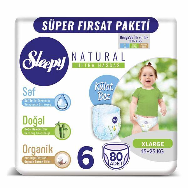 Sleepy Natural KÜLOT BEZ 6 Numara Xlarge 80 Adet
