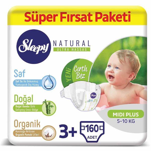 Sleepy Natural Bebek Bezi 3+ Numara Midi Plus Süper Fırsat Paketi 160 Adet