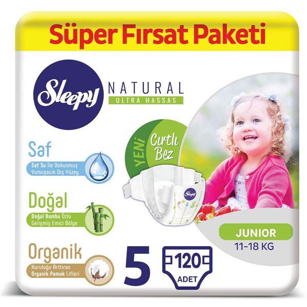 Sleepy Natural Bebek Bezi 5 Numara Junior Süper Fırsat Paketi 120 Adet