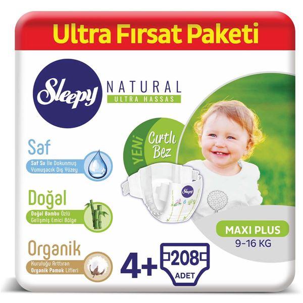 Resim Sleepy Natural Bebek Bezi 4+ Numara Maxi Plus Ultra Fırsat Paketi 208 Adet