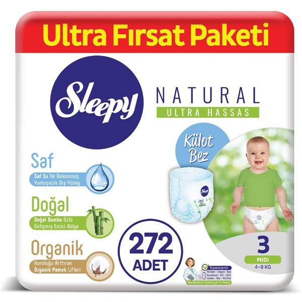 Sleepy Natural Külot Bez 3 Numara Midi Ultra Fırsat Paketi 272 Adet