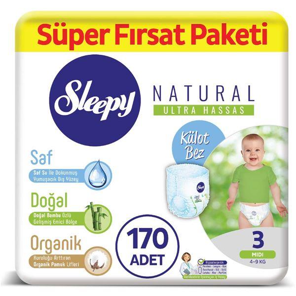 Sleepy Natural KÜLOT Bez 3 Numara Midi Süper Fırsat Paketi 170 Adet