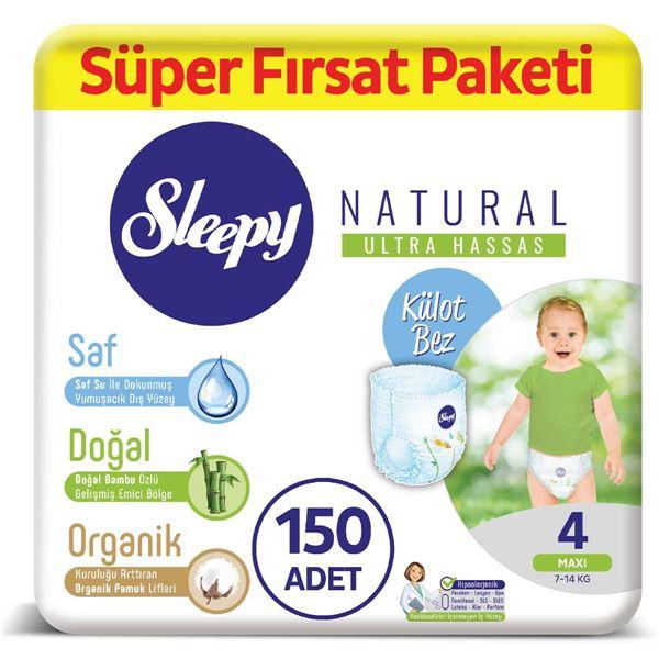 Sleepy Natural Külot Bez 4 Numara Maxi Süper Fırsat Paketi 150 Adet