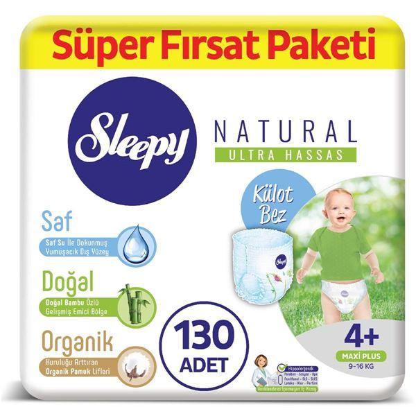 Resim Sleepy Natural KÜLOT Bez 4+ Numara Maxi Plus Süper Fırsat Paketi 130 Adet