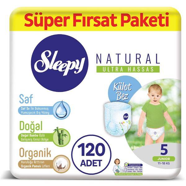 Sleepy Natural KÜLOT Bez 5 Numara Junior Süper Fırsat Paketi 120 Adet