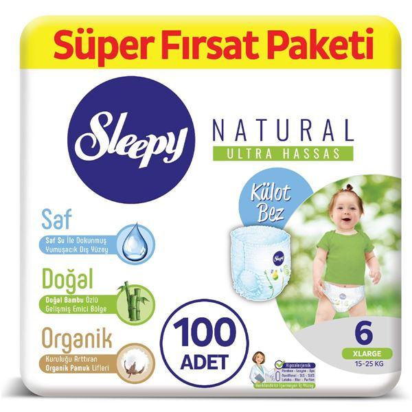Sleepy Natural KÜLOT Bez 6 Numara Xlarge Süper Fırsat Paketi 100 Adet